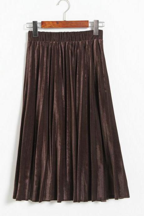 Women Spring Autumn Style Women Elastic Waist Pleated Length Skirt - Coffee