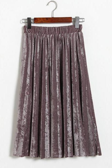 Women Spring Autumn Style Women Elastic Waist Pleated Length Skirt - Purple