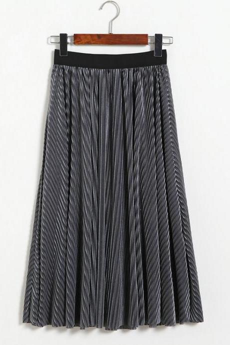 Women Stripe High Waist Pleated Skirt - Dark Grey