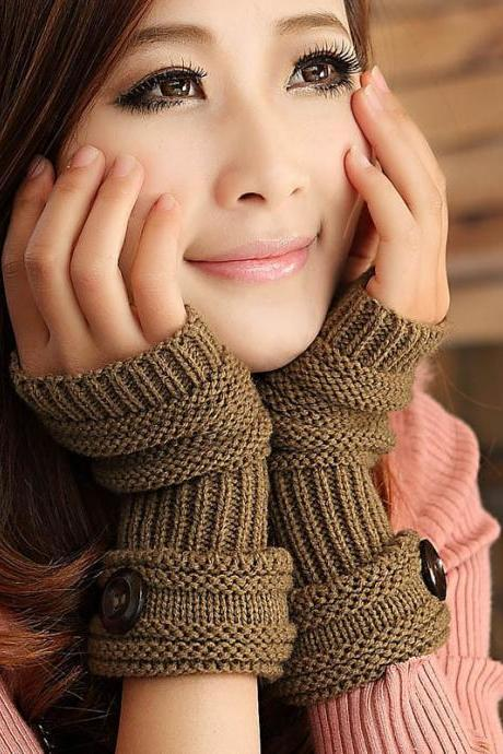 Cute Women Arm Warmer Fingerless Knitted Long Gloves - Khaki