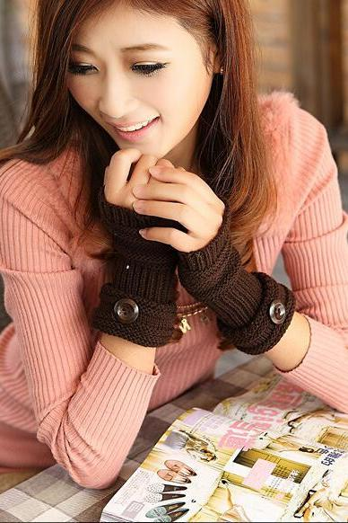 Cute Women Arm Warmer Fingerless Knitted Long Gloves - Coffee