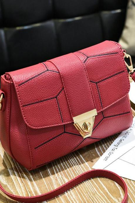 New Female Bag Crossbody Bag Fashion Shoulder Handbag - Wine Red
