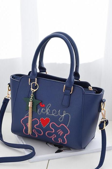 Flower Style Women Leather Cross Body Shoulder Bag Purse Messenger Bags - Blue