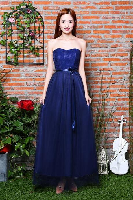 Beautiful Strapless Women Long Gauze Evening Formal Wedding Party Bridesmaid Cocktail Dresses - Dark Blue