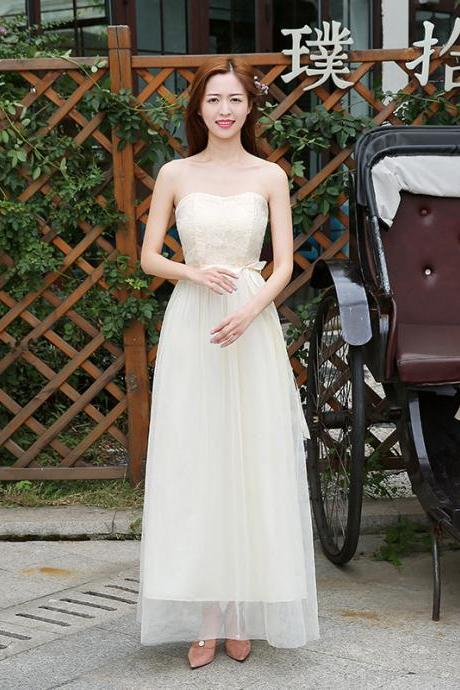 Beautiful Strapless Women Long Gauze Evening Formal Wedding Party Bridesmaid Cocktail Dresses - Beige