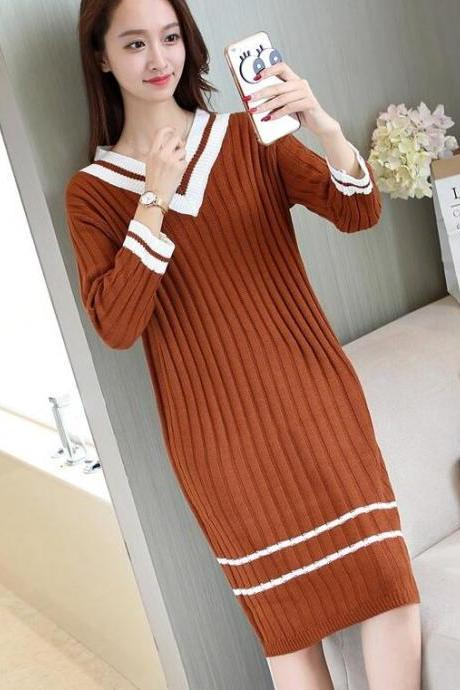 Women V Neck Spring Long Sleeved Knitted Sweater Dress - Coffee