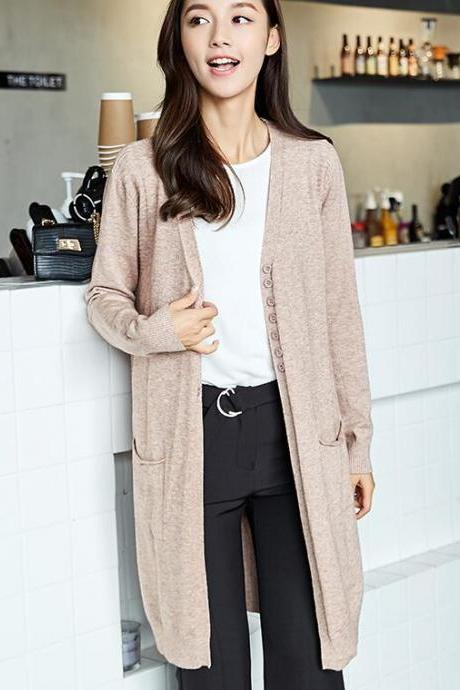 Autumn and Winter Loose Women Knit Long Cardigan Coat