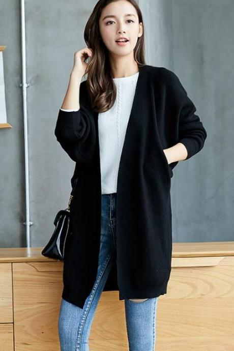 Black Autumn and Winter Women Knit Long Cardigan Coat