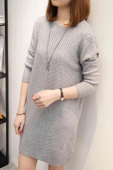 Grey Knitted Crew Neck Long Sleeved Short Sweater Dress