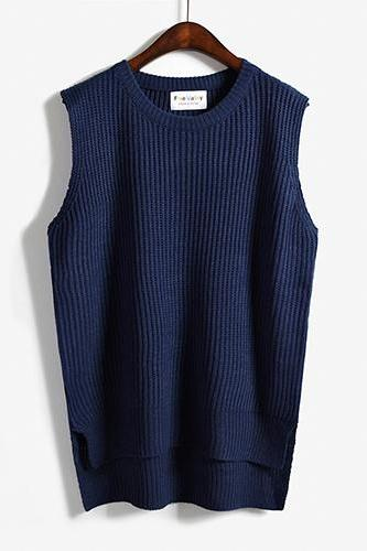 Women Sleeveless Vintage Pullover Knit Vest Sweater Tops - Dark Blue