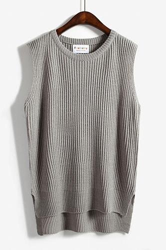 Women Sleeveless Vintage Pullover Knit Vest Sweater Tops - Grey