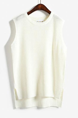 Women Sleeveless Vintage Pullover Knit Vest Sweater Tops - White
