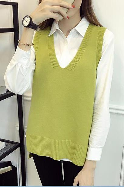 Women V Neck Sleeveless Vintage Pullover Knit Vest Tops - Light Green