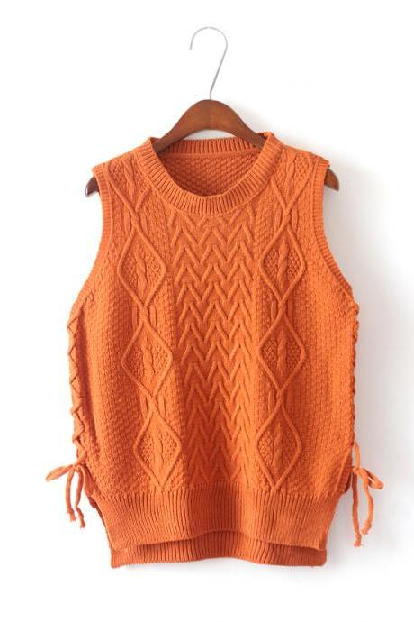 New Design Women Short Pullover Knit Vest Tops - Orange