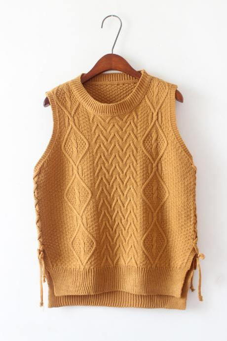 New Design Women Short Pullover Knit Vest Tops - Khaki
