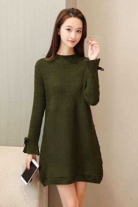 New Women Long Sleeve Sweater Dress Casual Loose Long Knit Dress - Amy Green