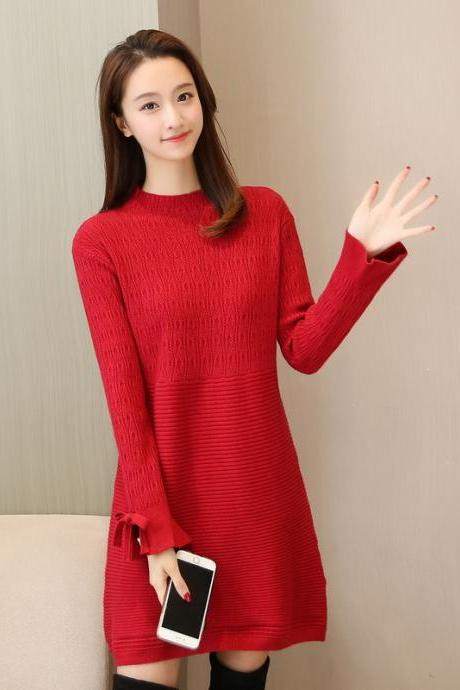 New Women Long Sleeve Sweater Dress Casual Loose Long Knit Dress - Red