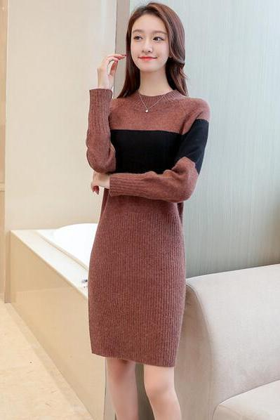 Women Patchwork Long Sleeve Sweater Dress Bodycon Sexy Round Neck Dress - Brown