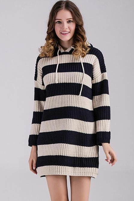 Fashion Women Casual Loose Stripe Sweater Knitwear Long Sleeve Blouse Tops - Black