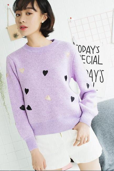 Women Fashion Winter Autumn Heart Sweater Candy Color Pullovers Knitting Sweater Tops - Purple