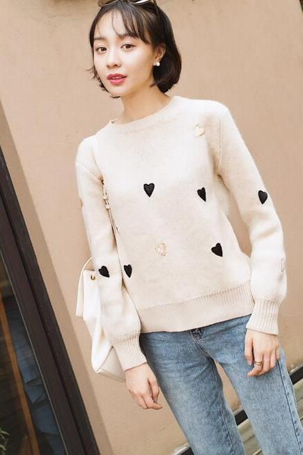Women Fashion Winter Autumn Heart Sweater Candy Color Pullovers Knitting Sweater Tops - Beige