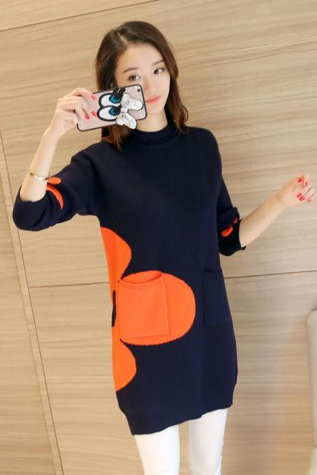 Women Sweaters Pullovers Long Sleeve Sweater - Dark Blue