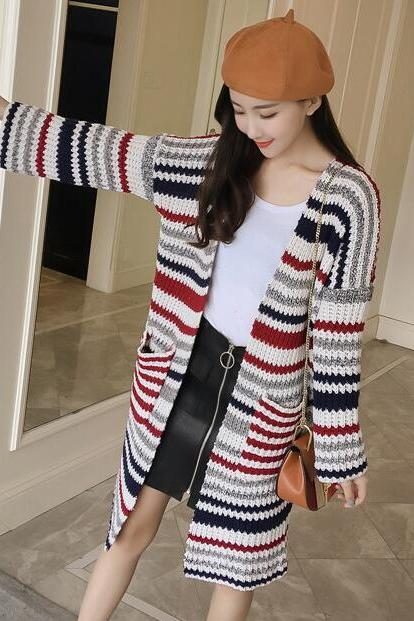 New Stripe Knitted Long Cardigan - Red