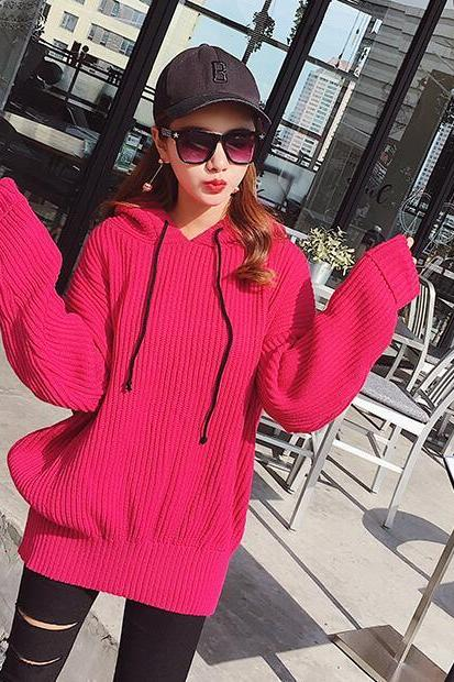 Red Knitted Hooded Oversized Sweater