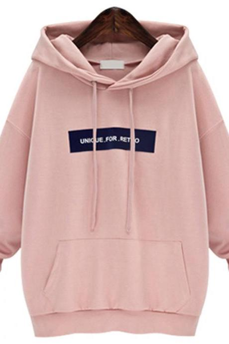 New Loose Autumn Women Casual Long Sleeved Hooded Shirt - Pink