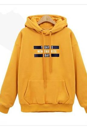 New Loose Autumn Women Casual Long Sleeved Hooded Shirt - Yellow