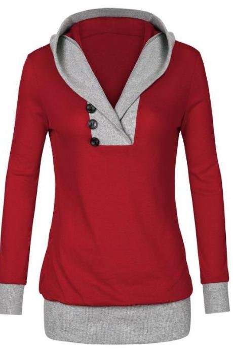 Autumn Patchwork Hooded Shirt Women Womens Long Sleeves Shirt Casual Woman Clothing - Red