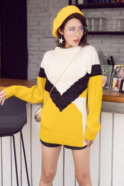 Yellow Loose Pullover Sweater Autumn Women Knitted Sweater Pullovers