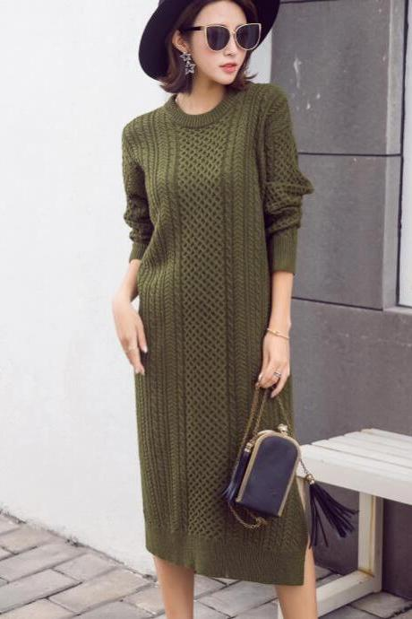 Amy Green Long Loose Autumn Women Knitted Sweater Pullovers