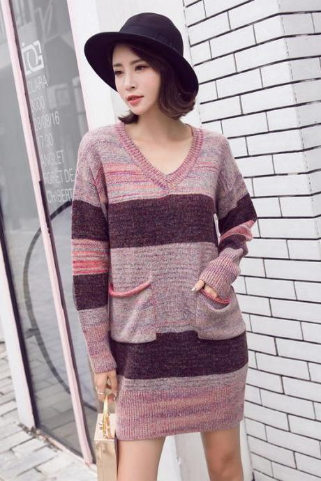Fashion Womens Long Patchwork Pockets Loose Sweater Pullover Tops