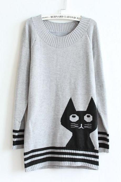 Cute Cat Pattern Long Sleeve Grey Pullovers Sweater