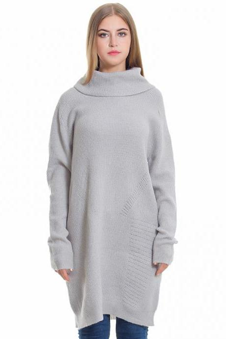 Grey Turtleneck Long Loose Autumn Women Knitted Sweater