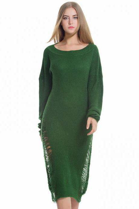 Good Quality Round Neck Fashion Long Hollow Loose Sweater Dress
