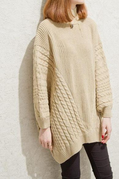 Women Long Batwing Sleeve Loose Sweater Pullover Tops - Beige