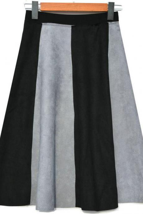 Retro Patchwork High Waisted A-Line Skirt - Black