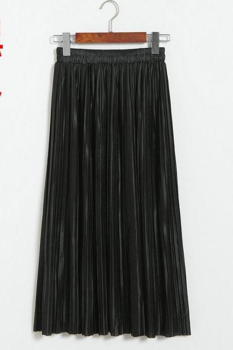 New Long Autumn Women Solid Pleated Skirt - Black
