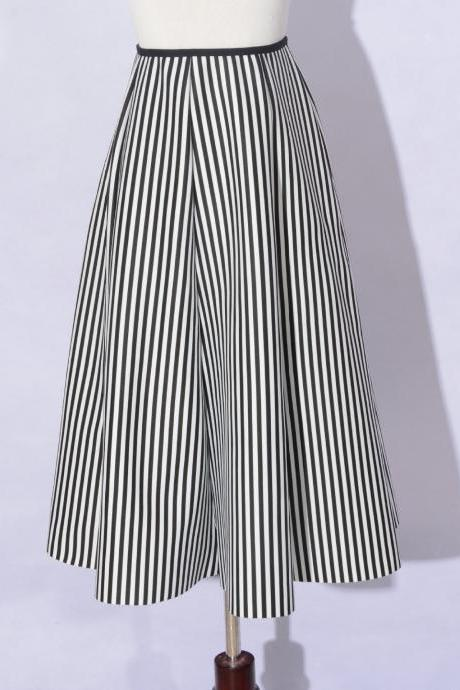 Retro Striped Cotton High Waisted Skirt