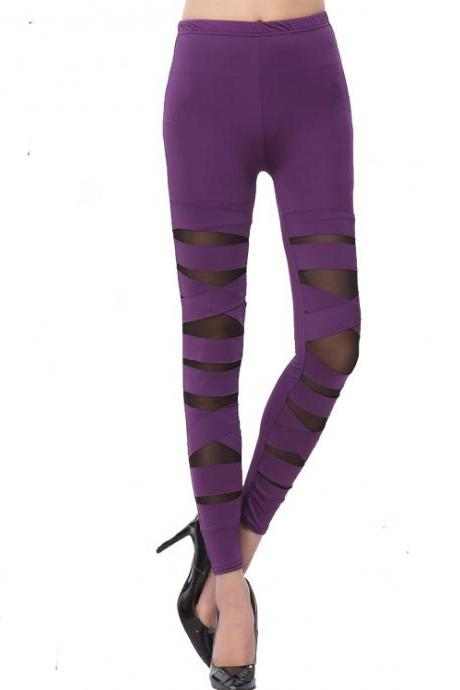 Women Sexy Casual Slim Leggings - Purple
