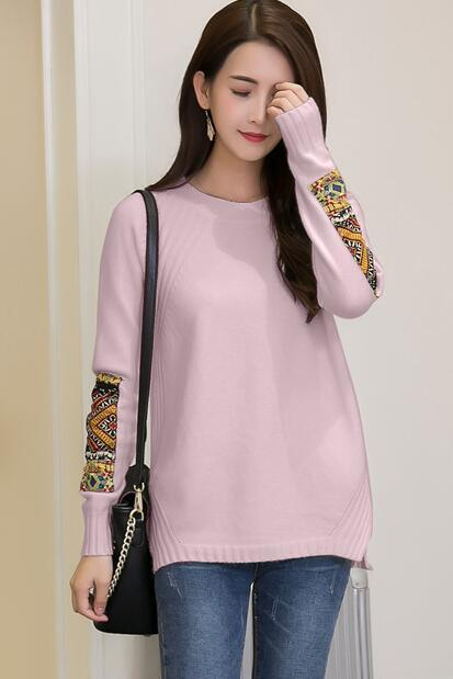 Women Fashion Round Neck Patchwork Sleeve Knitted Pullover Sweater Coat - Light Purple