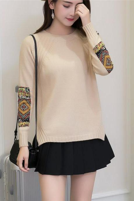 Women Fashion Round Neck Patchwork Sleeve Knitted Pullover Sweater Coat - Beige