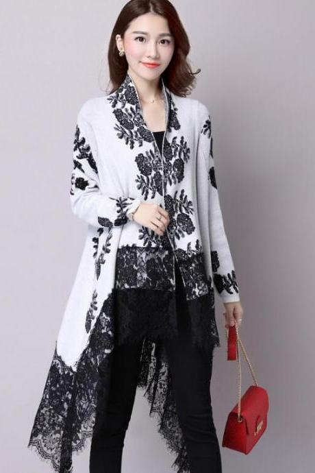 New Fashion Autumn Winter Printing Loose Casual Lace Cardigan - White