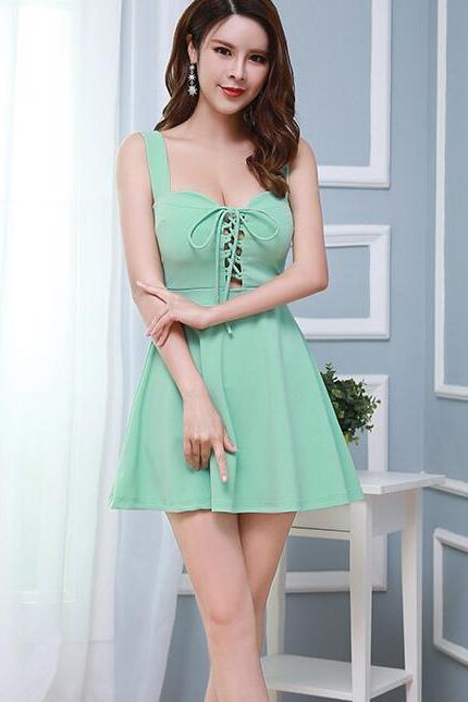Sexy Backless Mini Women Party Dress Club Wear - Green