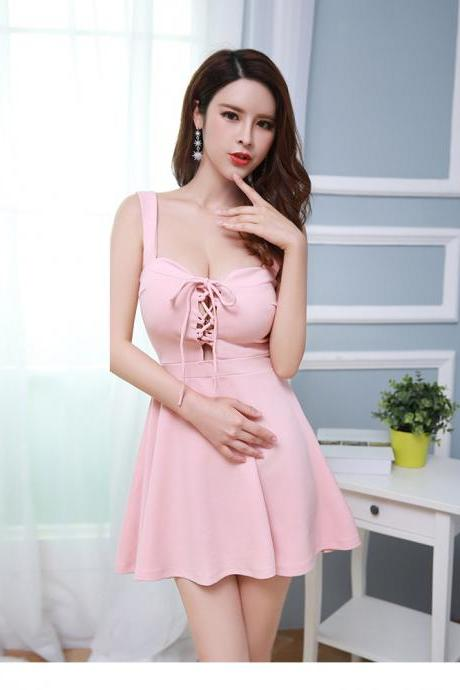 Sexy Backless Mini Women Party Dress Club Wear - Pink