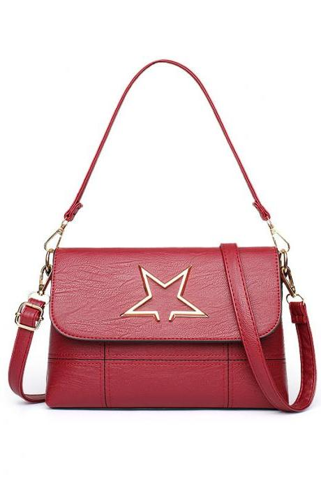 Leather Star Pattern Mini handbag Shoulder Bag - Red