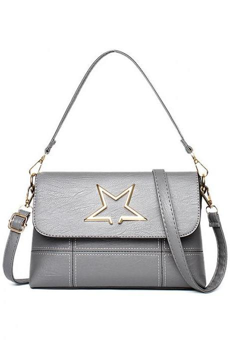 Leather Star Pattern Mini handbag Shoulder Bag - Grey