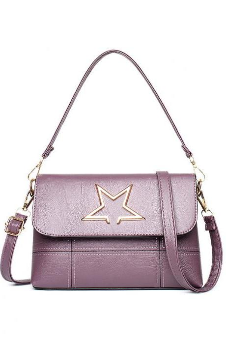 Leather Star Pattern Mini handbag Shoulder Bag - Purple
